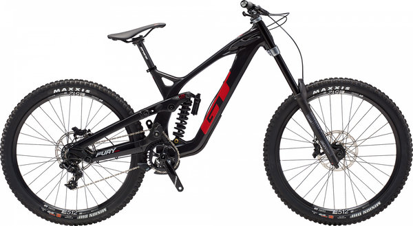 GT Fury Carbon Pro 27.5 Color: Gloss Raw & Black w/Red & Silver