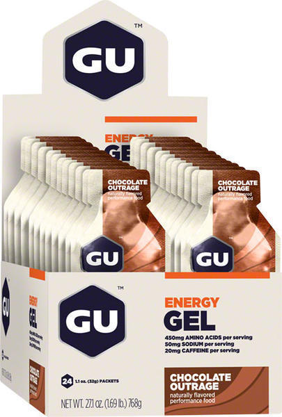 GU Energy Gel - Chocolate Outrage (32g) - Box of 24 Flavor: Chocolate Outrage