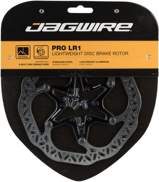 Jagwire LR1 Pro Lightweight Disc Brake Rotors Color | Mount Type | Size: Black/Silver | 6-Bolt | 140mm