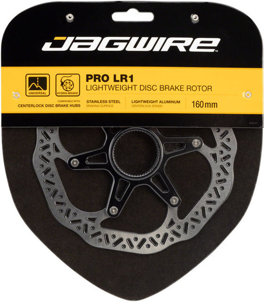 Jagwire LR1 Pro Lightweight Disc Brake Rotors Color | Mount Type | Size: Black/Silver | Center Lock | 160mm