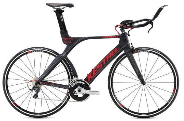 Kestrel 4000 (Ultegra) Color: Satin Carbon w/Red and Charcoal