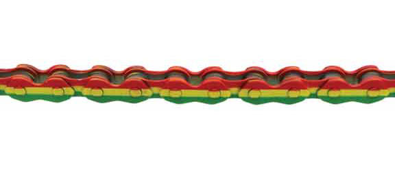 KMC Z-710 BMX Chain Color | Length | Speeds: Rasta | 112 Links | Single-speed