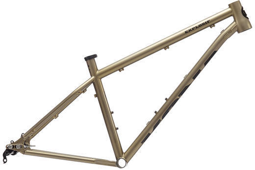 Kona Explosif Frameset Color: Raw Steel Gold Tint/Black