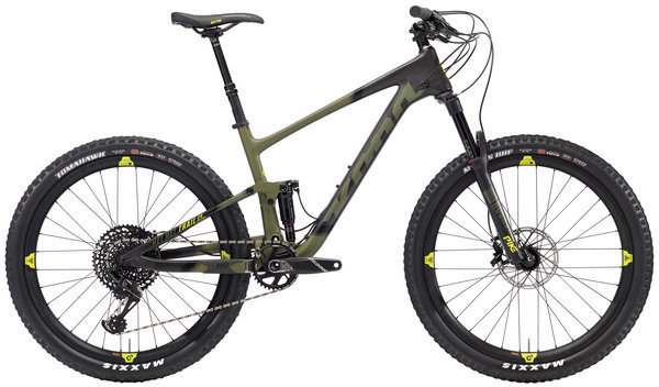 Kona Hei Hei Trail CR/DL 27.5 Color: Matt Black/Olive w/Black & Yellow Decals