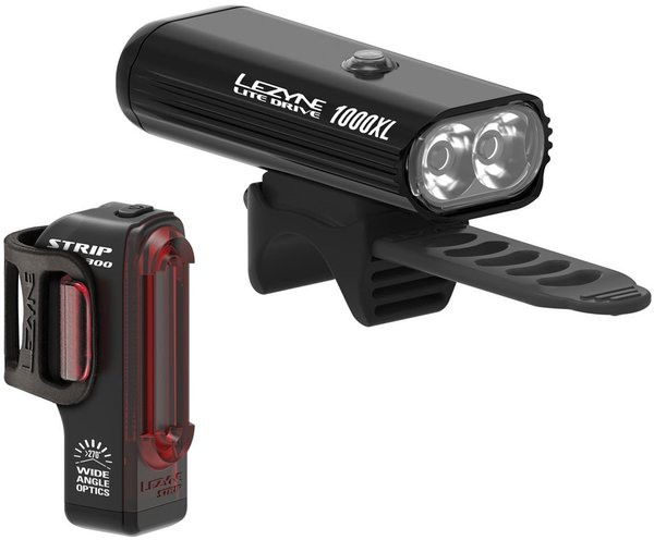 Lezyne Lite Drive 1000XL / Strip Pro Pair Color: Black/Hi Gloss