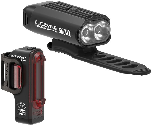 Lezyne Micro Drive 600XL / Strip Pair Color: Black/Black