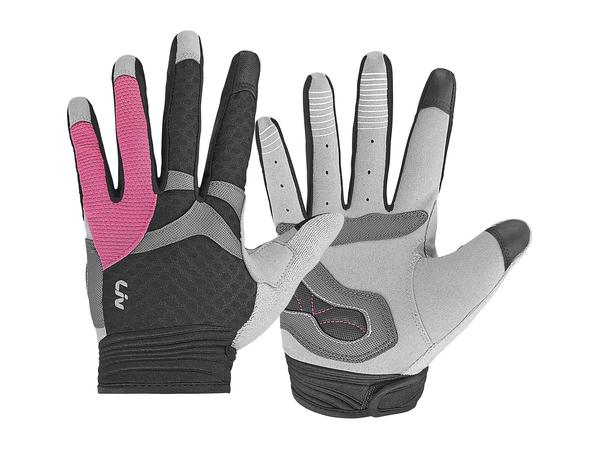 Liv Allure Long Finger Gloves Color: Black/Hot Pink