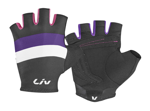 Liv Race Day Short Finger Gloves - Women's Color: Black/Purple/Hot Pink
