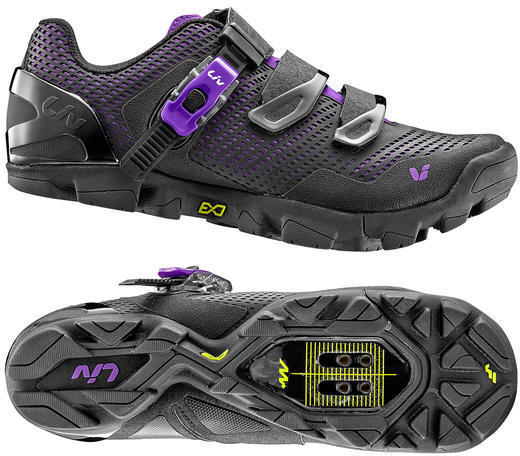 Liv Valora Shoe MES Composite Sole Off-Road Color: Black/Purple
