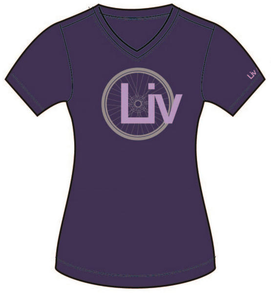 Liv Wheel Logo V-Neck T-Shirt - Women's Color: Purple