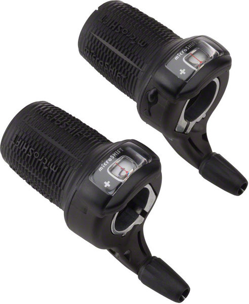 Microshift DS85 Twist Shifter Set Color | Left/Right | Speeds: Black | Set | 3 x 7-speed