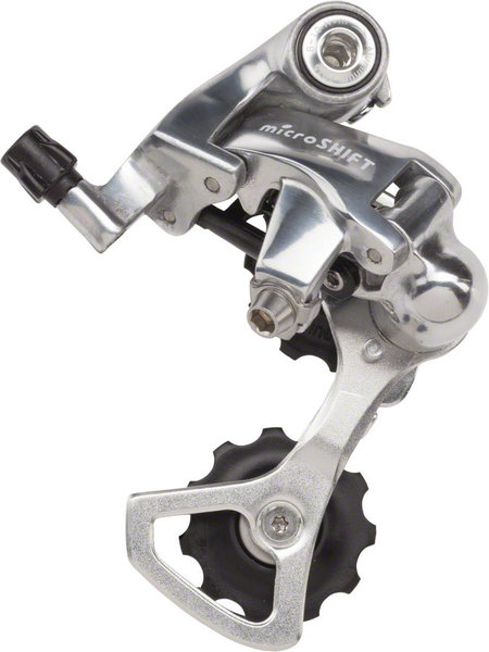 Microshift R10 Rear Derailleur Cage Length | Color | Speeds: Short Cage | Silver | 7 – 10-speed