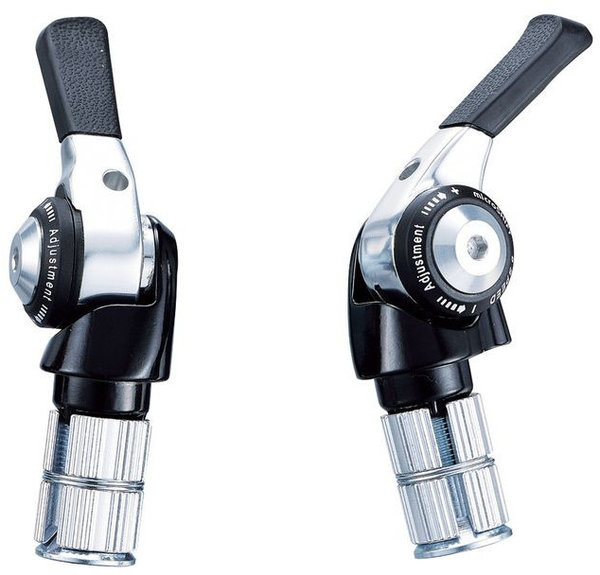 Microshift Bar End Shifter Set Color | Left/Right | Speeds: Black/Silver | Set | 2/3 x 8-speed