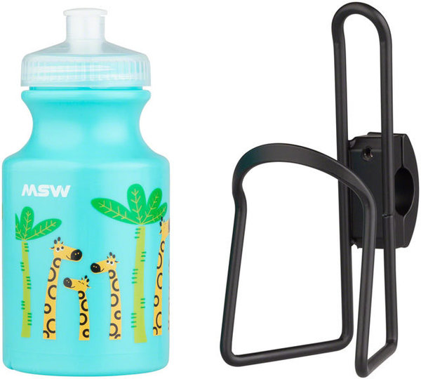 MSW Kids Handlebar-Mounted Water Bottle and Cage Kit Color | Fluid Capacity: Giraffe Blue | 14-ounce