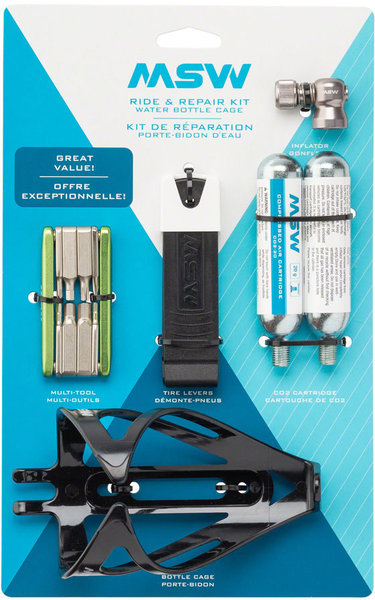 MSW Ride and Repair Kit w/Water Bottle Cage Color: Blue