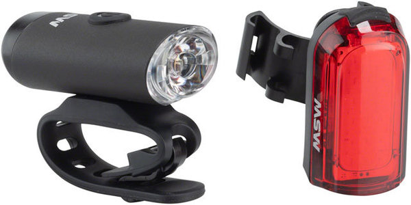 MSW TigerMoth 100-Lumen Headlight and 20-Lumen Taillight Set Color: Black|Red