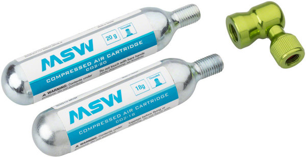 MSW Windstream Twist Inflator Kit Color | Model: Green | 2 20g CO2 cartridges
