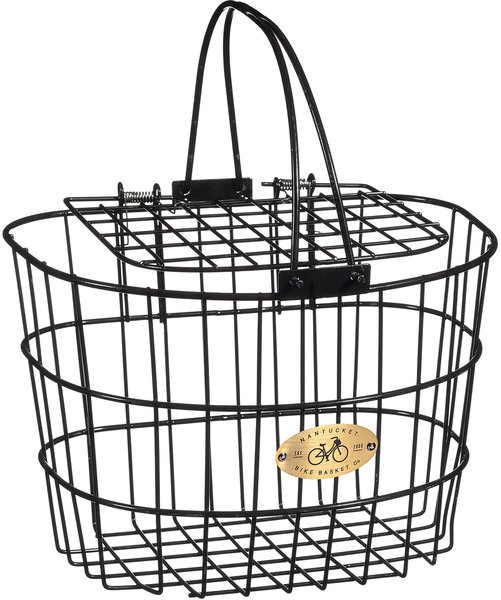 Nantucket Bike Basket Co. Surfside Adult Wire D-Shape Basket w/Lid Color: Black