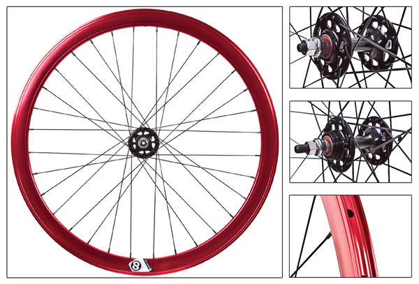 Origin8 Track Attack 42mm Fixie Wheelset Color: Ano Red