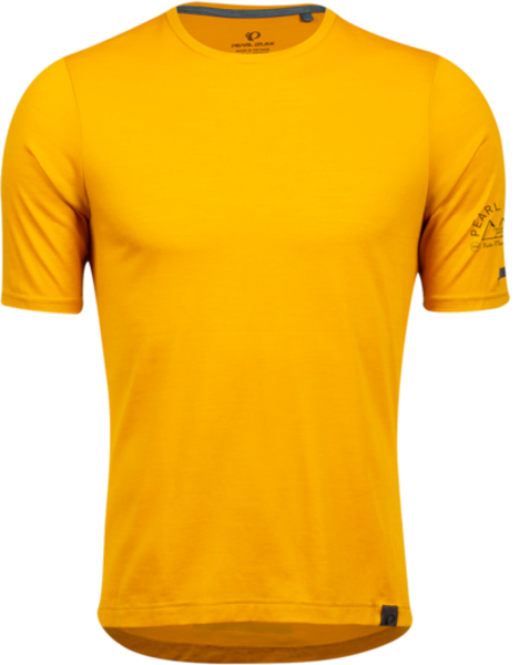 Pearl Izumi Men's BLVD Merino T-Shirt Color: Gold/Black Crests
