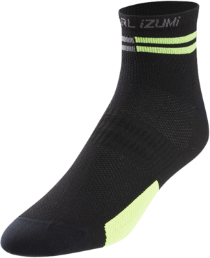 Pearl Izumi Men's ELITE Low Socks Color: Black/Screaming Green Segment