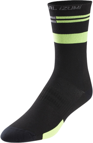 Pearl Izumi Men's ELITE Tall Socks Color: Black/Screaming Green Segment