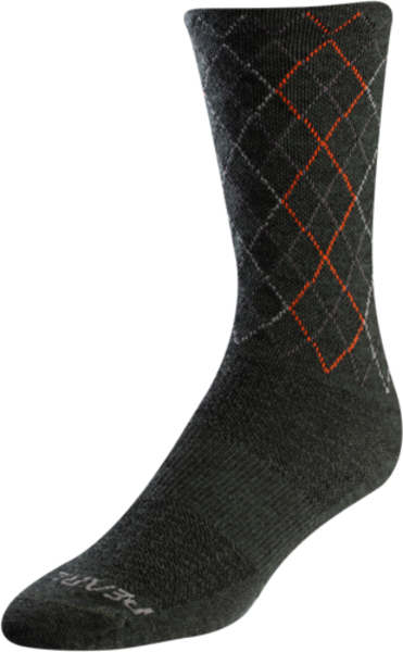 Pearl Izumi Men's Merino Tall Wool Sock Color: Forest/Flame Crossing