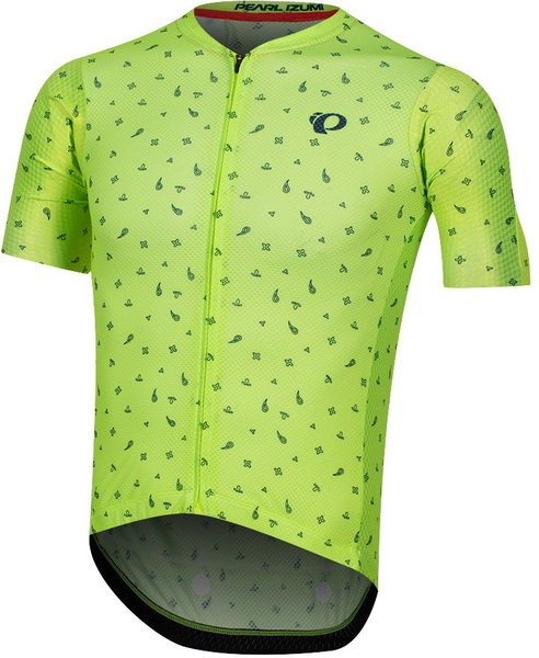 Pearl Izumi Men's P.R.O. Mesh Jersey Color: Screaming Yellow/Navy Paisley
