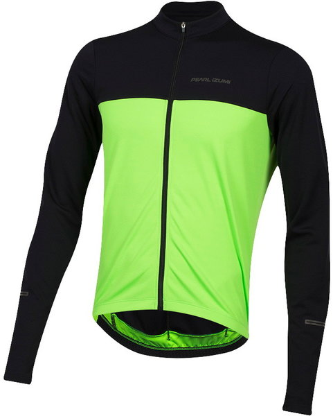 Pearl Izumi Men's Quest Long Sleeve Jersey Color: Black/Screaming Green