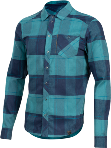 Pearl Izumi Men's Rove Long Sleeve Shirt Color: Navy/Hydro Plaid