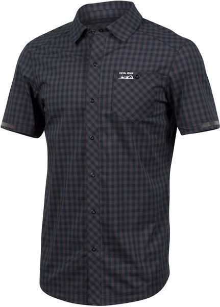 Pearl Izumi Men's Short Sleeve Button-Up Color: Black/Phantom Plaid