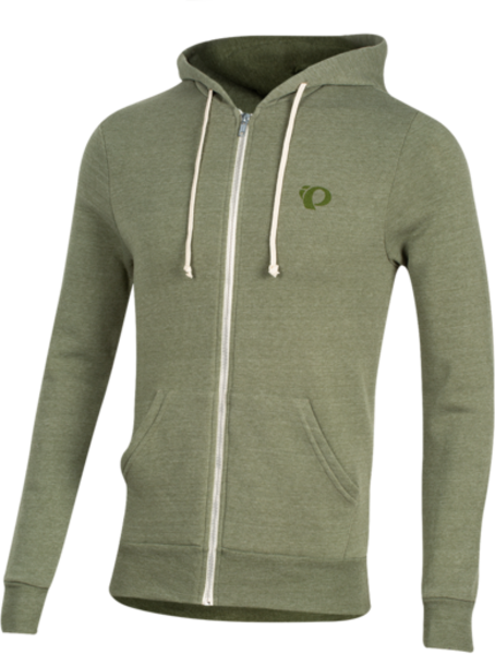 Pearl Izumi Men's Zip Up Hoodie Color: Distressed Logo Army Green