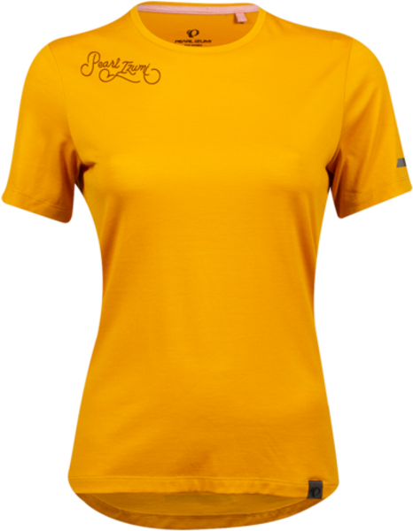 Pearl Izumi Women's BLVD Merino T-Shirt Color: Gold/Rust Cursive