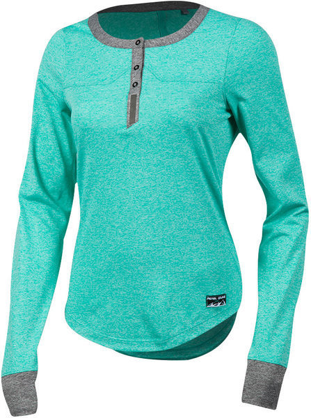 Pearl Izumi Women's Versa Long Sleeve Henley Color: Atlantis/Smoked Pearl
