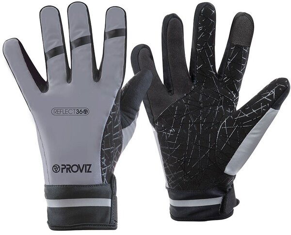 Proviz REFLECT360 Waterproof Cycling Gloves Color: Black/Reflective Grey