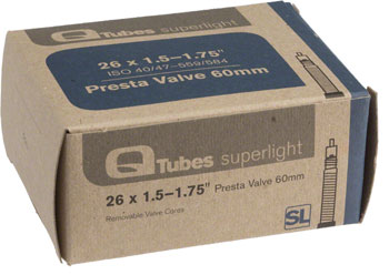 Q-Tubes Superlight Tube (26 x 1.5-1.75 inch, Presta Valve) Size | Valve Length: 26 x 1.50 – 1.75 | 60mm