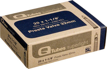 Q-Tubes Superlight Tube (20 x 1-1/8 inch, Presta Valve) Size | Valve Length: 20 x 1-1/8 | 32mm