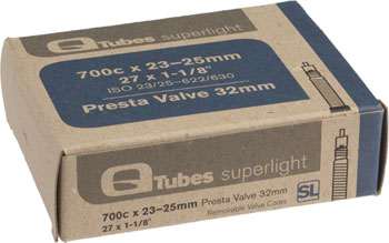 Q-Tubes Superlight Tube (700c x 23-25mm, Presta Valve) Size: 32mm Presta Valve