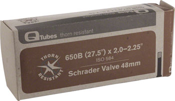 Q-Tubes Thorn Resistant Tube (27.5 x 2.0-2.25 inch, 48mm Schrader Valve) (650B) Size: 27.5 x 2.0 – 2.25