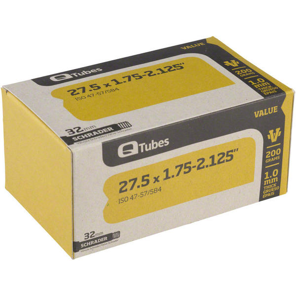 Q-Tubes Value Series Tube (27.5-inch x 1.75-2.125 Schrader Valve) Size: 27.5 x 1.75 – 2.125