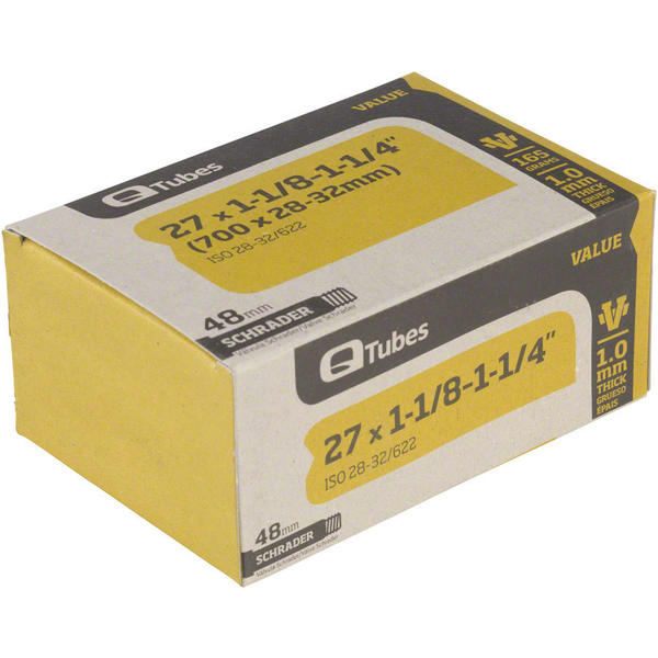 Q-Tubes Values Series Tube (27-inch x 1-1/8–1-1/4 (700C x 28-32mm) Schrader Valve) Valve Length: 48mm