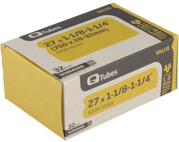 Q-Tubes Value Series Tube (27-inch x 1-1/8–1-1/4 (700C x 28-32mm) Schrader Valve)