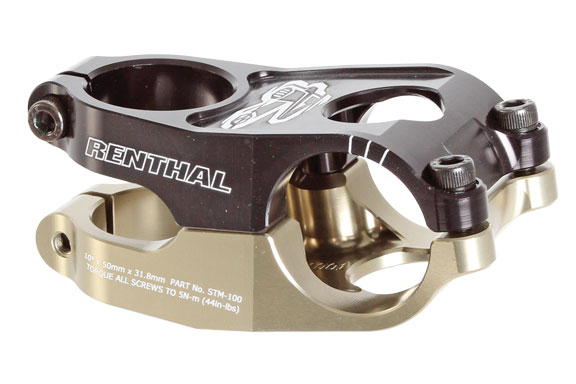 Renthal Duo Stem Clamp Diameter | Color | Length | Rise | Steerer Diameter: 31.8mm | Black/Gold | 40mm | 10° | 1-1/8-inch