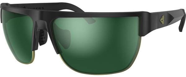 Ryders Eyewear Boundary Color | Lens: Black | Standard Green w/Silver Flash