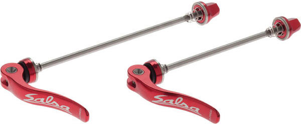 Salsa Flip-Off Stainless Steel Quick-Release Skewers (Front and Rear) Color: Red