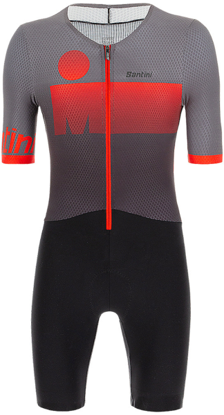 Santini Santini Ironman Audax Men's Short Sleeve Triathlon Suit Color: Grey/Red