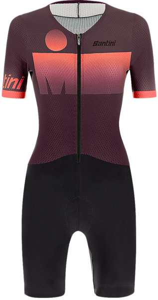 Santini Santini Ironman Audax Women's Short Sleeve Triathlon Suit Color: Dark Purple/Dark Pink
