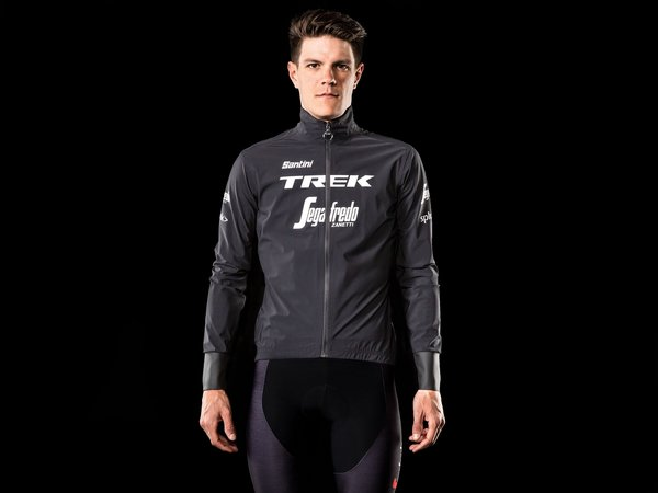 Santini Trek-Segafredo Men's Team Packable Waterproof Cycling Jacket Color: Black