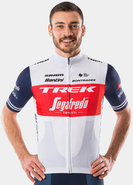 Santini Trek-Segafredo Men's Team Race Replica Jersey Color: White/Dark Blue