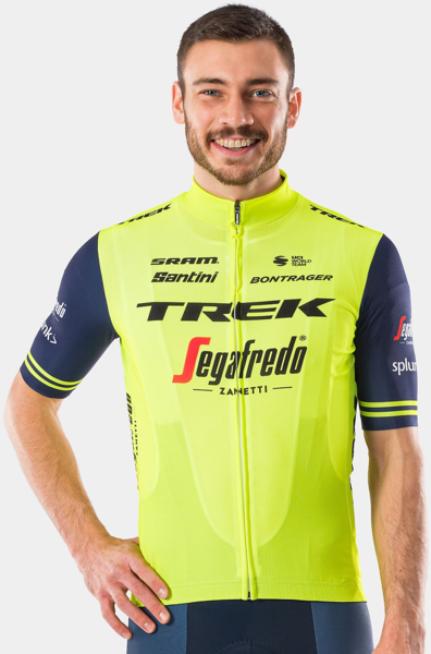 Santini Trek-Segafredo Men's Team Training Replica Jersey Color: Radioactive Yellow/Dark Blue